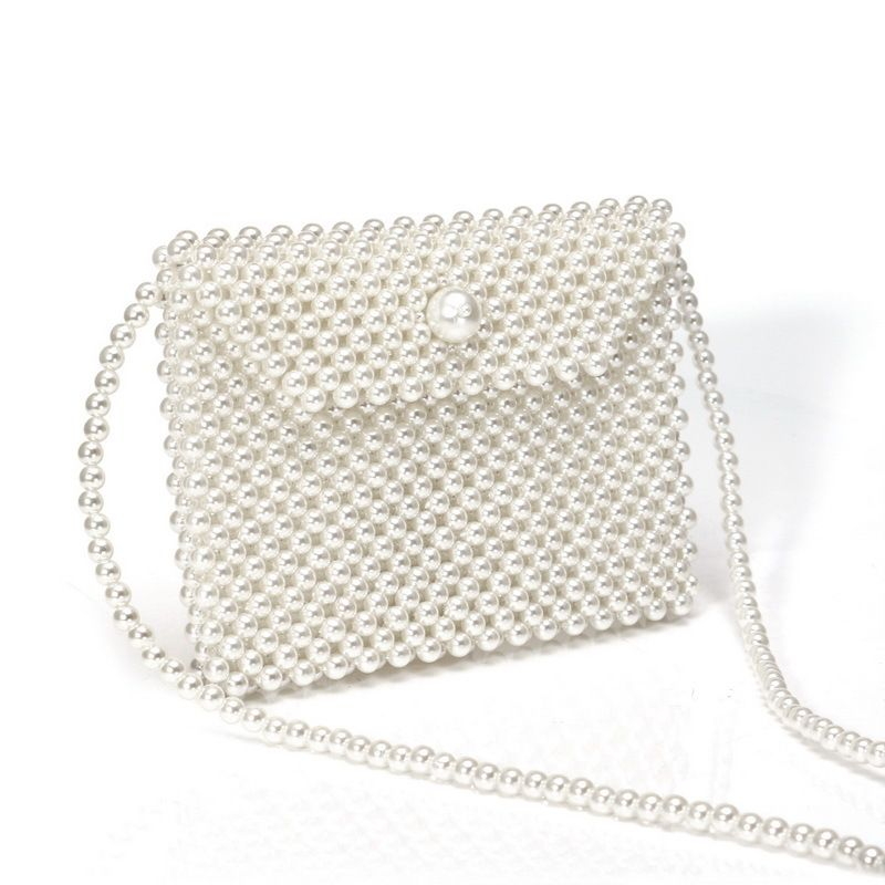 new fashion women's pearl bag hand-woven crossbody bag wholesale nihaojewelry NHYM234726