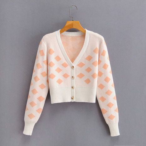 single-breasted V-neck single piece long-sleeved diamond pattern sweater coat wholesale nihaojewelry NHAM234736's discount tags