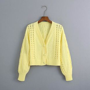 summer flower embroidery women's knitted cardigan drop shoulder sweater wholesale nihaojewelry NHAM234746's discount tags