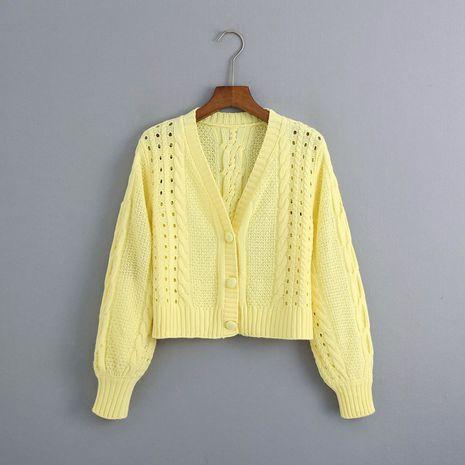 été fleur broderie femmes tricoté cardigan pull à épaules dénudées en gros nihaojewelry NHAM234746's discount tags