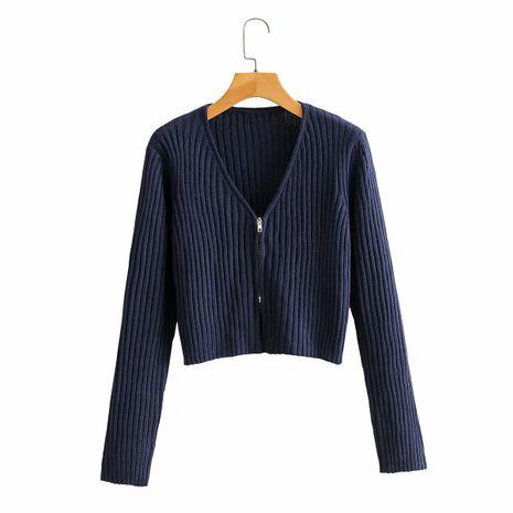 V collar was thin sweater women high waist short section long sleeve zipper pit strip top wholesale nihaojewelry NHAM234761's discount tags