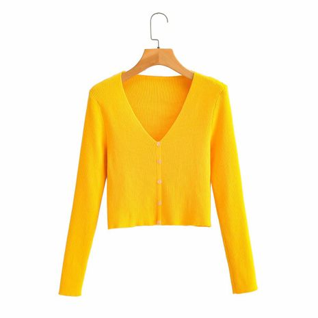 summer new sweater v-neck loose thin tops women jacket long sleeve cardigan wholesale nihaojewelry NHAM234762's discount tags