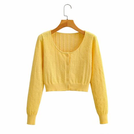retro hollow long-sleeved sweater round neck single-breasted short section exposed navel cardigan wholesale nihaojewelry NHAM234763's discount tags