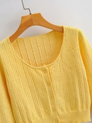 retro hollow longsleeved sweater round neck singlebreasted short section exposed navel cardigan wholesale nihaojewelry NHAM234763