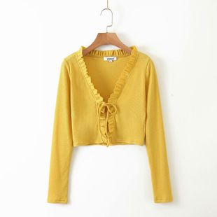 summer early autumn ruffled women's knitted cardigan wholesale nihaojewelry NHAM234764's discount tags