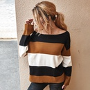womens contrast color striped sweater autumn and winter new tops wholesale nihaojewelry NHKA234786