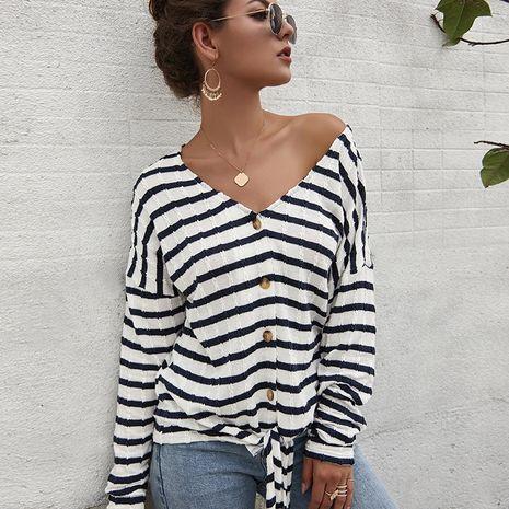 women's clothing sweater women's shirt striped T-shirt sweater wholesale nihaojewelry NHKA234792's discount tags