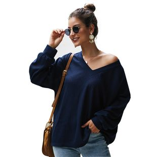 fashion new women's long-sleeved sweater  hot selling V-neck sexy top sweater wholesale nihaojewelry NHKA234797's discount tags