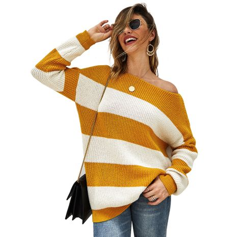 sweater women new hot selling women's sexy striped sweater top wholesale nihaojewelry NHKA234801's discount tags