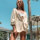 New Twill Cotton Shirt Cardigan Beach Jacket Bikini Blouse Holiday Swimwear wholesale nihaojewelry NHXW234874