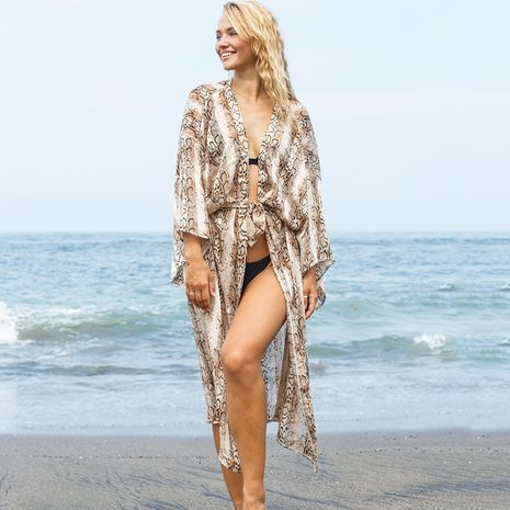 new snake pattern striped jacquard simulation silk cardigan beach jacket sunscreen swimsuit wholesale nihaojewelry NHXW234878's discount tags