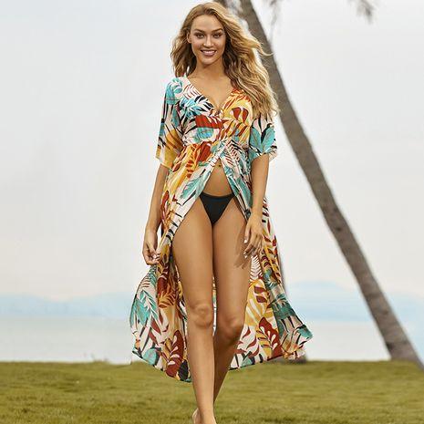 new rayon front split hoodie sunscreen beach cardigan swimsuit bikini jacket wholesale nihaojewelry NHXW234884's discount tags