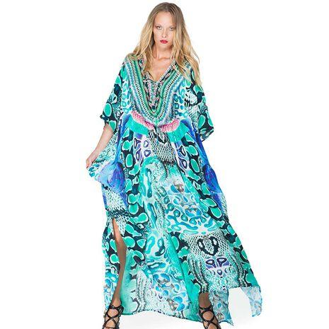 New snake pattern flower loose holiday long skirt beach blouse swimsuit bikini wholesale nihaojewelry NHXW234885's discount tags