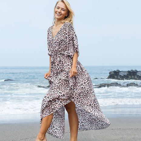 New rayon leopard point robe dress beach jacket sunscreen bikini blouse wholesale nihaojewelry NHXW234888's discount tags