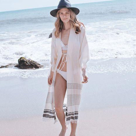 New cotton fringed cardigan beach skirt bikini blouse swimsuit cardigan sun protection clothing wholesale nihaojewelry NHXW234891's discount tags
