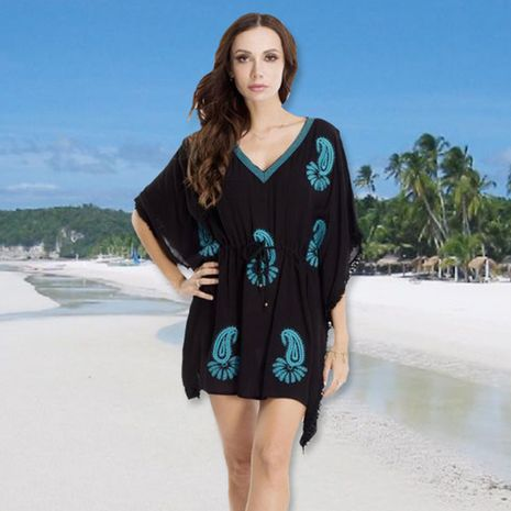 black embroidered hooded beach sunscreen bikini outside swimsuit blouse cover wholesale nihaojewelry NHXW234893's discount tags