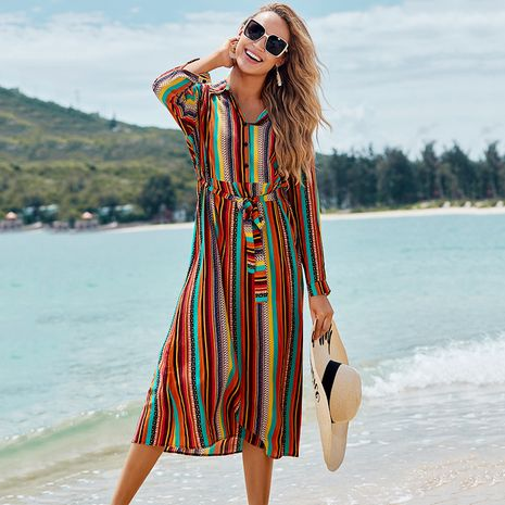 New rayon color stripe belt long dress beach skirt holiday sunscreen bikini blouse swimsuit wholesale nihaojewelry NHXW234894's discount tags