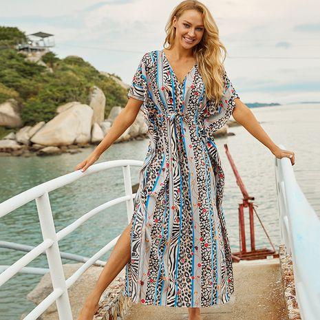 New Blue Leopard Dot Striped Skirt Beach Blouse Swimsuit Bikini Robe wholesale nihaojewelry NHXW234895's discount tags