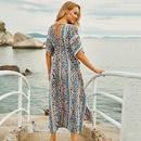 New Blue Leopard Dot Striped Skirt Beach Blouse Swimsuit Bikini Robe wholesale nihaojewelry NHXW234895
