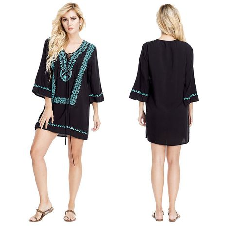 beach jacket cover-up cotton embroidered swimsuit bikini cover blouse wholesale nihaojewelry NHXW234897's discount tags