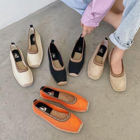 Coréen nouvelle mode automne tricoté respirant chaussures simples tête carrée plate chaussures de pêcheur en gros nihaojewelry NHHU234902's discount tags