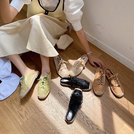 nouveau coréen automne mode demi pantoufles fond plat pêcheur sandales en gros nihaojewelry NHHU234905's discount tags