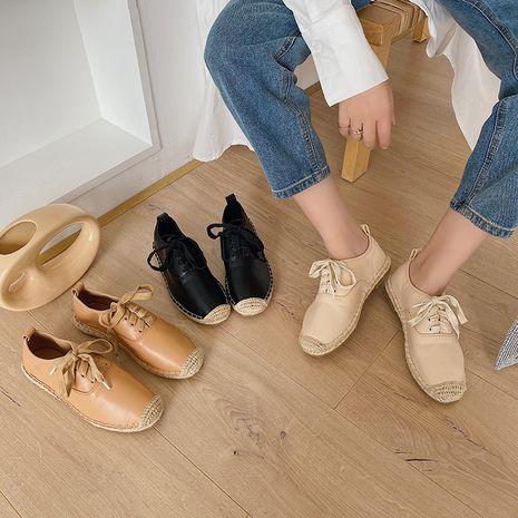 Automne coréen de la nouvelle mode chaussures de pêcheur en lin à fond plat chaussures en dentelle femmes en gros nihaojewelry NHHU234906's discount tags