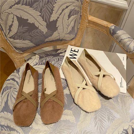 automne nouvelles chaussures à fourrure pédale croix bande élastique fond plat porter chaussures pois chaussures en gros nihaojewelry NHHU234908's discount tags