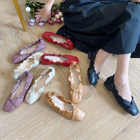 Coréenne nouvelle mode dentelle fée chaussures à talons bas talon chunky chaussures plissées en gros nihaojewelry NHHU234911's discount tags