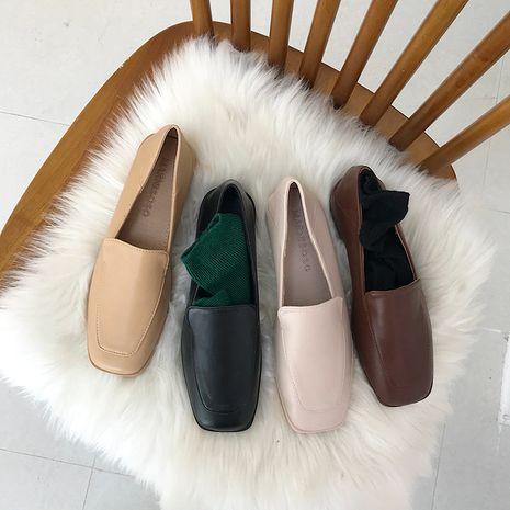 Automne coréen nouveau style mode bouche profonde talon bas chaussures simples femmes talon épais tête carrée chaussures en cuir en gros nihaojewelry NHHU234913's discount tags