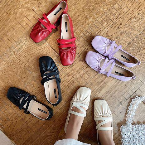 nouvelle tête carrée peu profonde croix ceinture en cuir souple fond mou chaussures ballet fond plat en gros nihaojewelry NHHU234916's discount tags