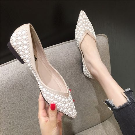 Coréen nouvelle mode scoop chaussures pointu peu profond tempérament chaussures fond plat perle femmes chaussures en gros NHHU234921's discount tags