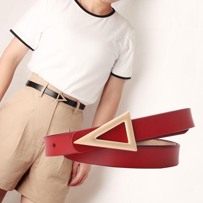ladies leather belt matte triangle snap belt Korean fashion dress decorative belt thin wholesale nihaojewelry NHJN234927