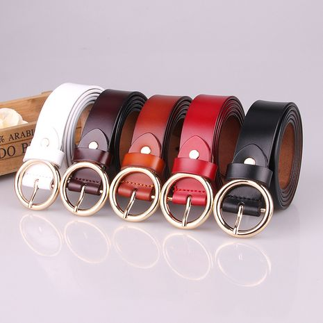 New women's belt pure leather round pin buckle belt fashion retro leather belt ladies belt wholesale nihaojewelry NHJN234929's discount tags