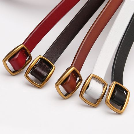 Korean new ladies leather thin belt fashion belt youth decoration black small belt wholesale nihaojewelry NHJN234932's discount tags