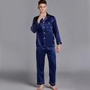 mens summer longsleeved loose silk home pajamas large size wholesale nihaojewelry NHJO234957