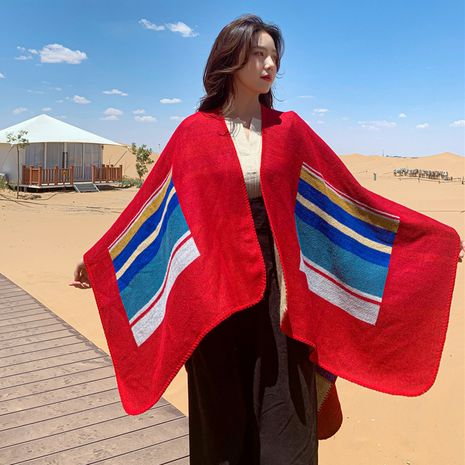 New national style knitted jacket travel photo cape big shawl female autumn and winter to take warm scarf wholesale NHCM234962's discount tags