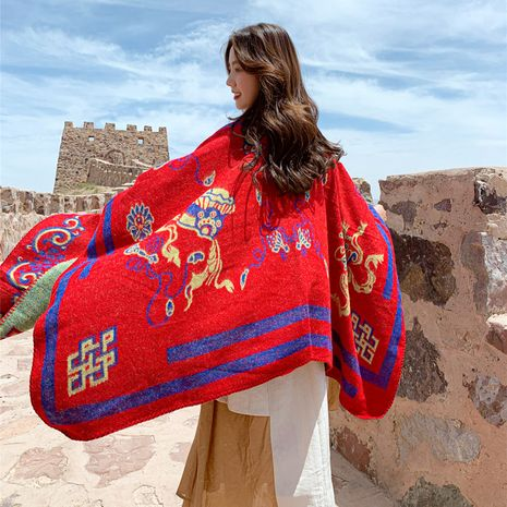 New national style knitted jacket travel photo cape big shawl female autumn and winter wear sunscreen scarf  wholesale NHCM234963's discount tags