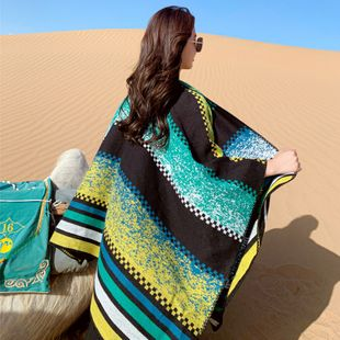Ethnic style knitted jacket tourist photo cape big shawl female autumn and winter with sunscreen hooded scarf  wholesale NHCM234964's discount tags
