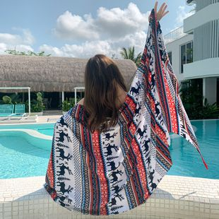 spring and summer seaside sunscreen beach towel shawl retro cotton and linen scarf silk scarf wholesale nihaojewelry NHTZ234985's discount tags