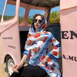 Cotton and linen new scarf literary ladies printed beach sunscreen scarf shawl wholesale nihaojewelry NHTZ234990's discount tags