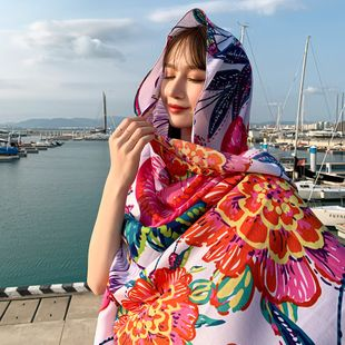summer new cotton and linen ladies thin scarf beach sunscreen silk scarf shawl wholesale nihaojewelry NHTZ234994's discount tags
