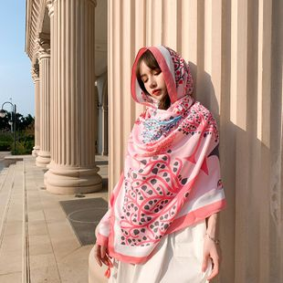 spring and summer new cotton and linen national style printing sunscreen scarf wholesale nihaojewelry NHTZ234995's discount tags