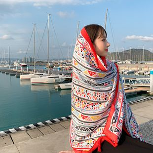 new cotton and linen printing ethnic style travel vacation sunscreen  warm shawl ladies scarf wholesale NHTZ234997's discount tags