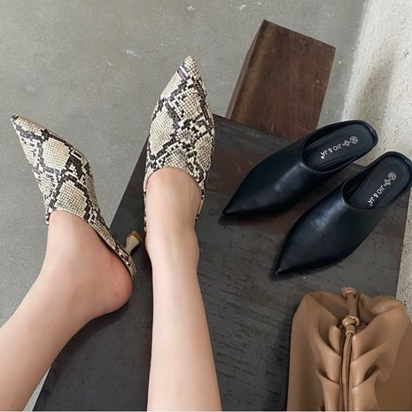 new women's snake pattern sexy pointed half drag high heels outwear sandals wholesale nihaojewelry NHSO234999's discount tags