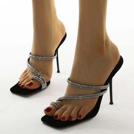 new women's simple rhinestone toe thin belt high-heeled sandals large size wholesale nihaojewelry NHSO235006's discount tags