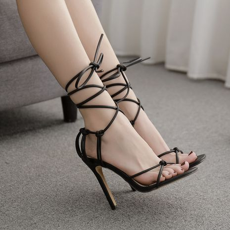 new women's sexy style square head strap Roman high-heeled thin belt large size sandals wholesale nihaojewelry NHSO235007's discount tags