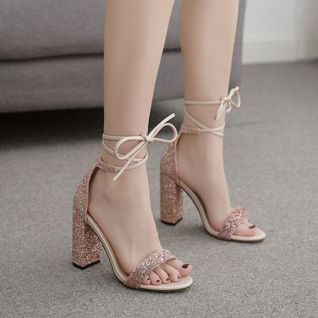 new women's word straps sequins thick high-heeled open-toe sandals plus size wholesale nihaojewelry NHSO235008's discount tags