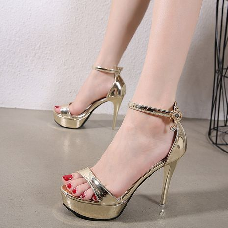 new women's sexy rhinestone word with fine high heel patent leather sandals wholesale nihaojewelry NHSO235015's discount tags