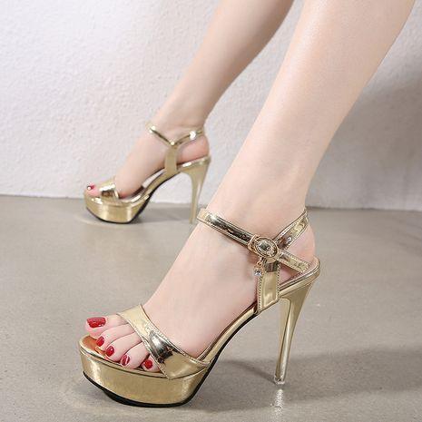 new women's Korean fashion buckle waterproof platform rhinestone fine high heel sandals wholesale nihaojewelry NHSO235017's discount tags